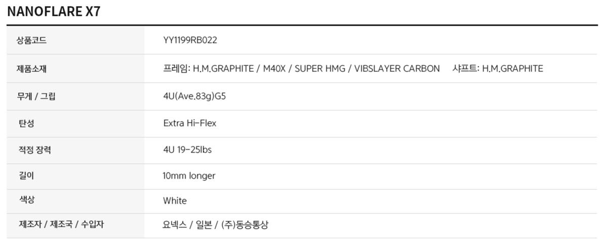 NANOFLARE X7 spec1